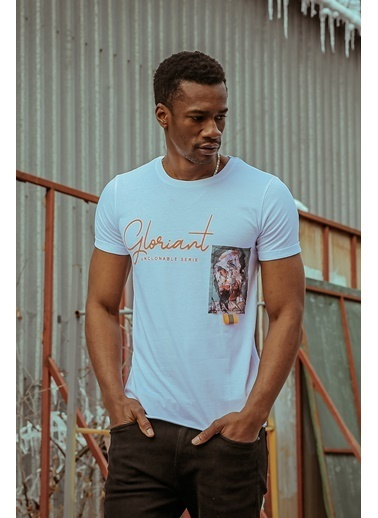 XHAN Beyaz Baskılı Işlemeli T-Shirt 1Kxe1-44585-01 Beyaz